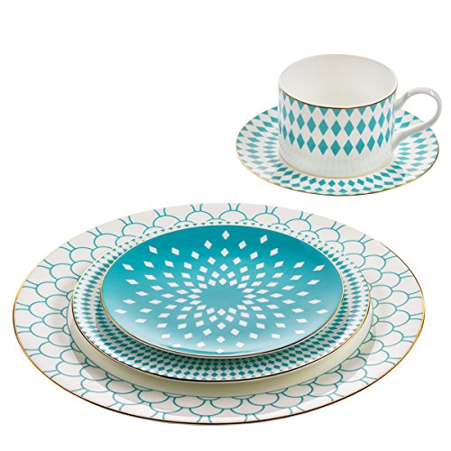B. By Brandie 5 Piece Fine Bone China Dinnerware Set Dishes Table Place Setting Plates Teacup (Bone China Fine China Dinnerware Set)