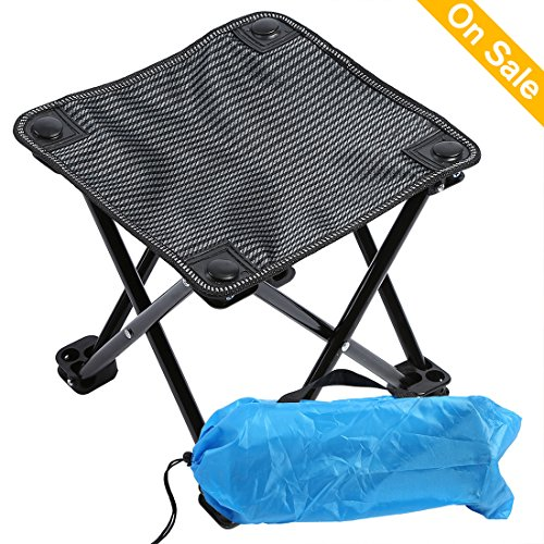 Mini Ultralight Camping Stools Camping Chairs Folding Portable Stool with Carry Bag Outdoor Camping Fold Chair for Camping, Hiking, Fishing, Beach, Park, BBQ and Festivals Maxi Bearing 220lb