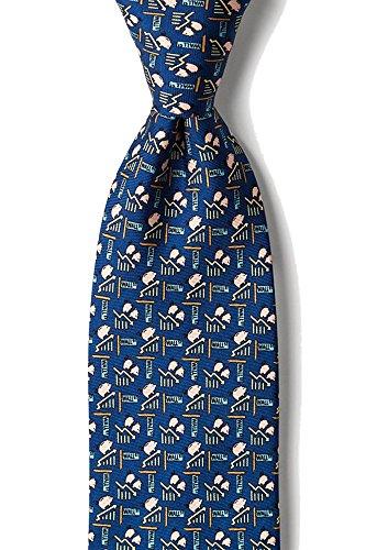 Men's 100% Silk Stock Market Piggy Went To the Market Novelty Tie Necktie (Navy Blue) (Ties Blue Alynn Novelty Silk)