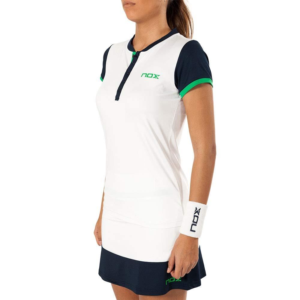 NOX Polo Pro Blanco Azul Logo Verde Mujer: Amazon.es: Deportes y ...