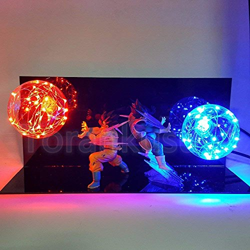 New 2018 Dragon Ball Z Vegeta & Son Goku Power Up Led Light Lamp Action Figure Whole Set (Dragon Ball Z Majin Vegeta Vs Majin Buu)