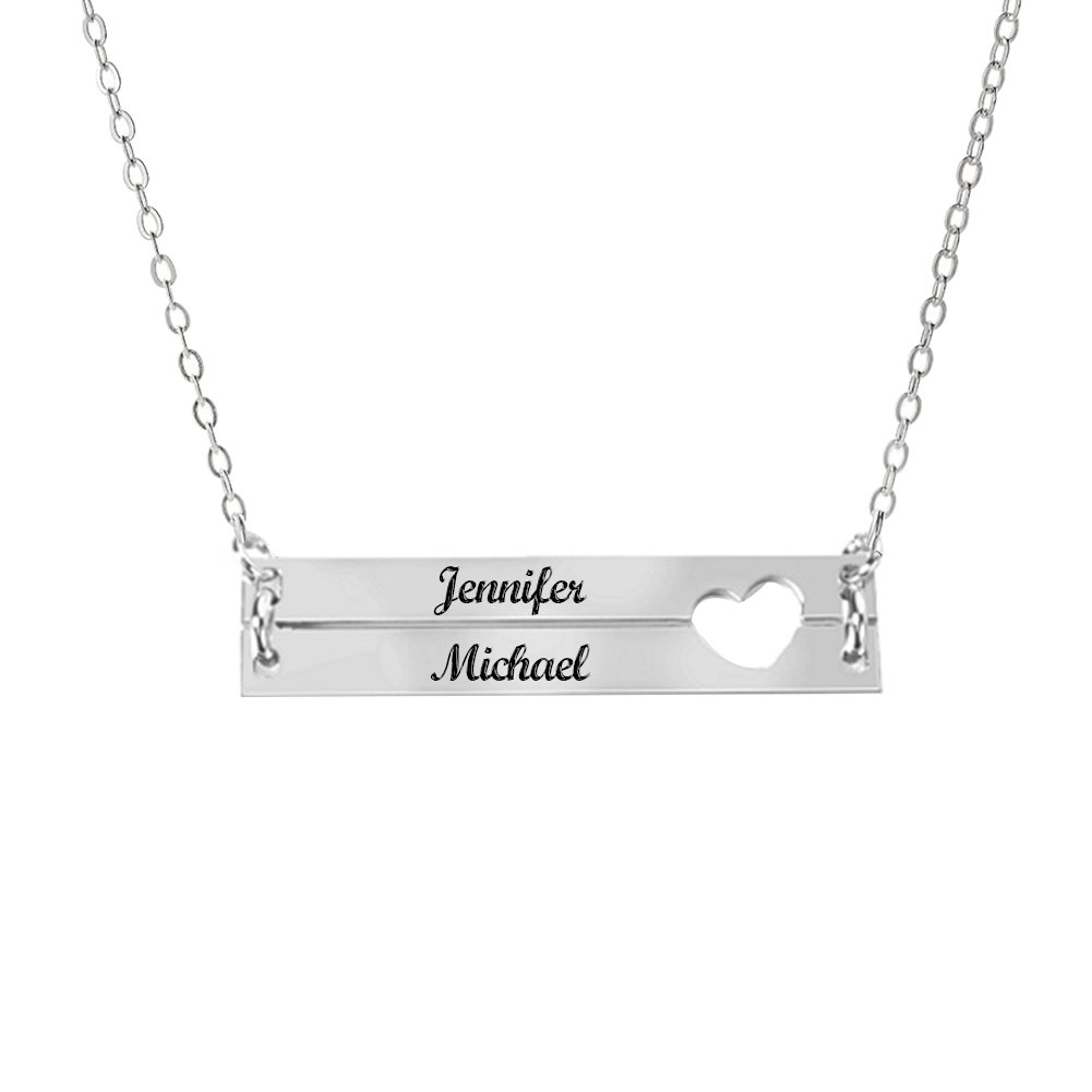 4b93f4a25 Amazon.com: Ouslier 925 Sterling Silver Personalized Double Bar Necklace  Pendant Custom Made with 2 Names (Silver): Jewelry