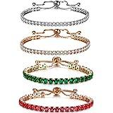 GULICX Silver & Rose Gold CZ Cubic Zirconia Adjustable Bracelets for Women 4 Colors