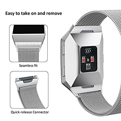 SWEES Fitbit Ionic Bands Metal Small & Large, Stainless Steel Magnetic Milanese Replacement Band for Fitbit Ionic Smart Watch Women Men, Black, Silver, Colorful, Gold, Rose Gold
