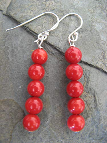 Red Sea Coral Sterling Silver Earrings Boho Artisan Jewelry
