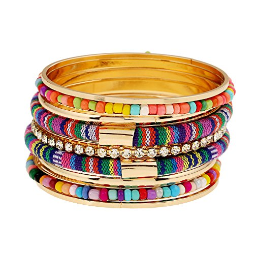 - LOVFASHION 9 Pack Bangle Bracelet Set, Vintage Bohemian Layer Beaded Mixed Metal Bracelets, Particoloured Stackable Bangle Set for Women Girls Gifts