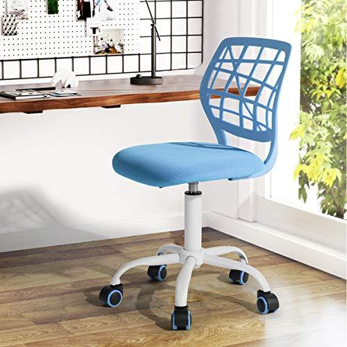 Silla de escritorio Fanilife, ajustable y giratoria sin brazos de diseno, para ninos, silla para el ordenador, para los deberes, para estudiar, color negro
