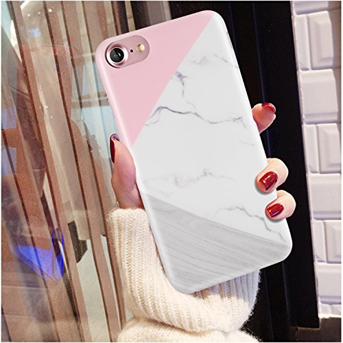 iPhone 7 Case, iPhone 8 Case, Wood Marble Pink Grey White for Women/Girls, LUMARKE Clear Bumper Matte TPU Soft Rubber Silicone Cover Phone Case