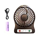 Ponvey Portable Mini USB Table Fan with Upgrade Rechargeable 2000mAh Battery with LED Touch Light, 3 Speeds, Perfect for Traveling, Boating, Baby Stroller, Fishing, Camping, Black