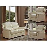 SC Furniture Ltd Ivory Cream High Grade Genuine Leather 2 Seater Sofa + 2 Leather Armchairs NEW YORK (2+1+1)