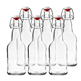 reusable glass soda bottles - Chef's Star CASE OF 6 - 16 oz. EASY CAP Beer Bottles - CLEAR