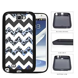 Black and White Chevron Design with Blue Leopard Pattern Hard Rubber TPU Phone Case Cover Samsung Galaxy Note 2 N7100 WANGJING JINDA
