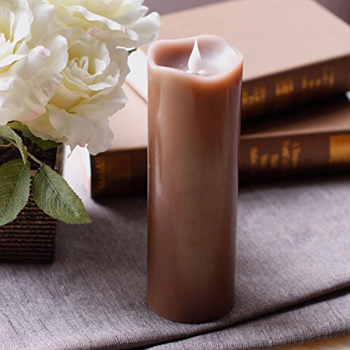 3D Moving Flame Led Candle With Timer, Pillar Flameless Candle for Halloween Decoration, 3x9 Inch, Brown