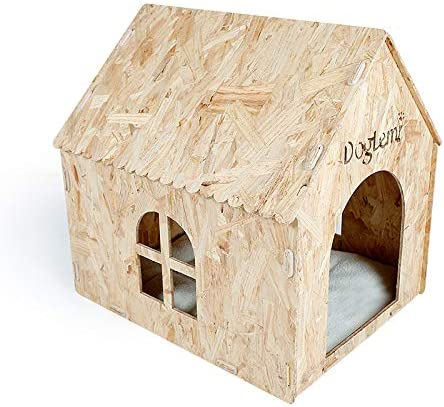 DogLemi Eco Friendly Nature Wooden Dog Cat Pet House Cave Bed – Indoor or Outdoor Use