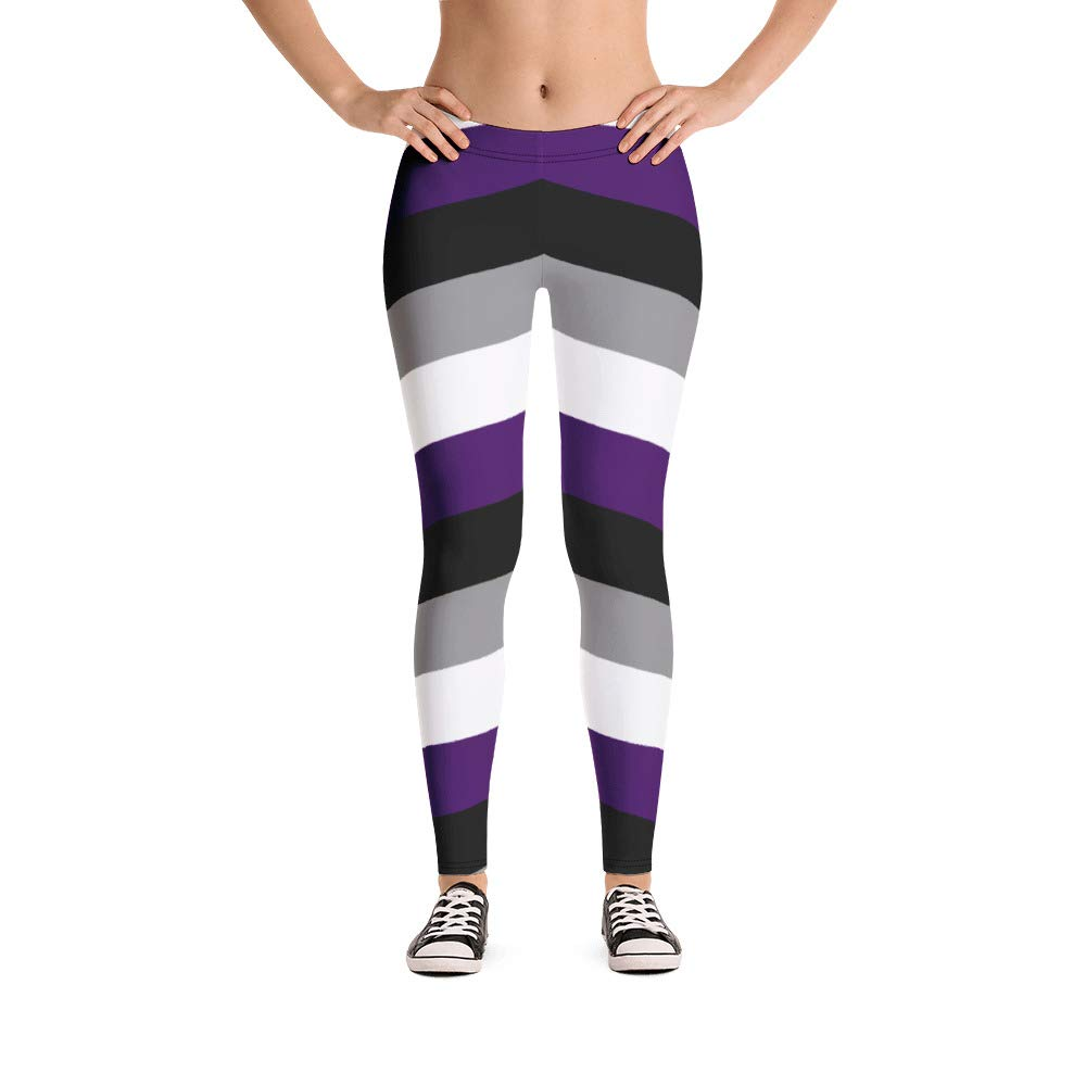 G33k Chic Asexual Pride Striped Leggings (Black, Gray ...