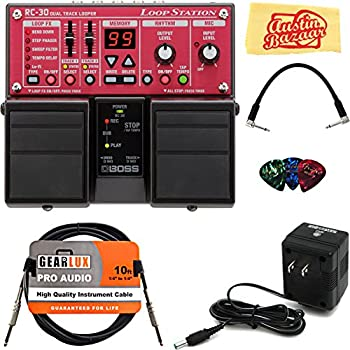 Boss RC-30 Loop Station Guitar Effects Pedal Bundle with AC Adapter, 10-Foot Instrument Cable, Patch Cable, Pick Card, and Polishing Cloth