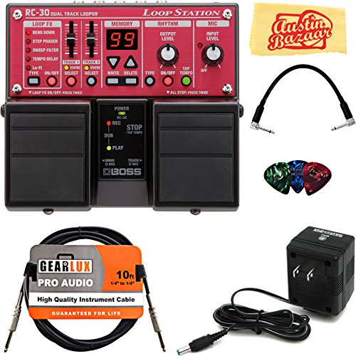 - Boss RC-30 Loop Station Bundle with Power Supply, Instrument Cable, Patch Cable, Picks, and Austin Bazaar Polishing Cloth