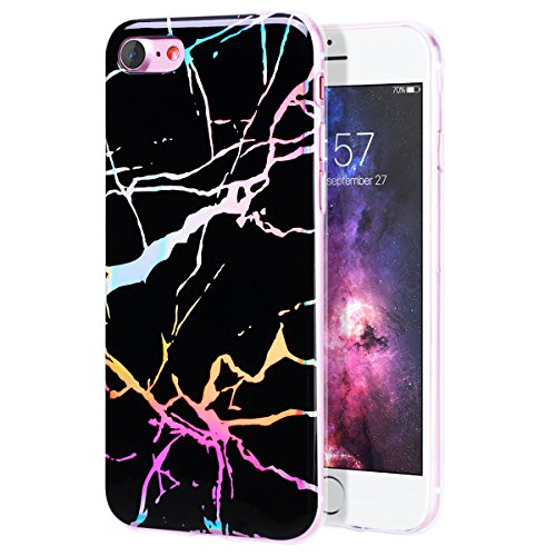 Funda iPhone X, WE LOVE CASE Ultra Fina Slim Suave Funda Mármol iPhone X Silicona Cubierta Clear Cover Original Flexible Gel Dibujos Anti Rasguños Choque con Diseño Protectora Resistente Funda Apple i Black