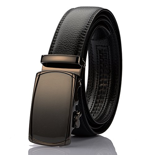 "KingMoore Men's Genuine Leather Ratchet Dress Belt With Automatic Buckle (Up to 45"" Waist, Black1) (Mens Genuine Leather)"