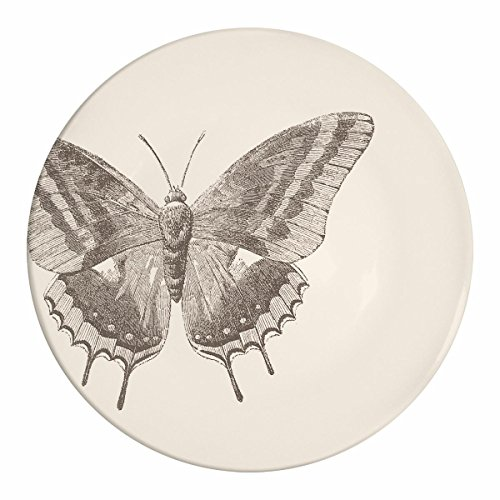 Paperproducts Design Botanical Collection Stoneware Plate with Butterfly Design, 8.5 x 8.5 x 1'', Ivory/Black by Paperproducts Design