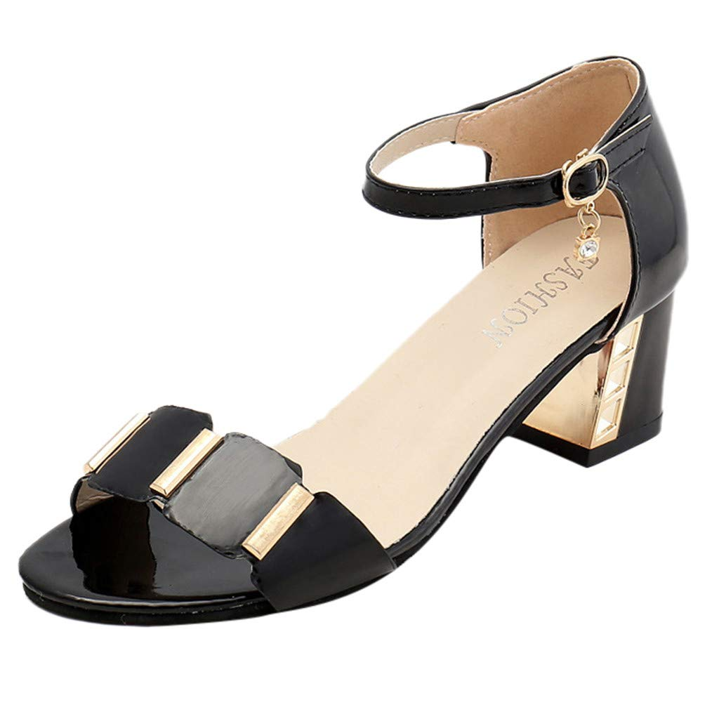 Mysky Fashion Women Summer Classic Elegant Pure Color Fish Mouth Buckle Strap Prom Party Square Heel Sandals
