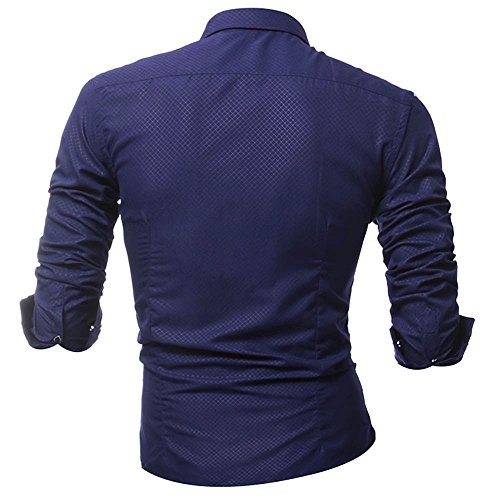 Men Tops Blouses Clearance WEUIE Personality Men's Lattice Casual Slim Long Sleeve Printed Shirt Top Blouse (XL,Navy) by WEUIE (Image #1)