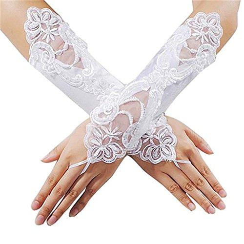 Academyus Elegant Lace Rhinestone Bridal Dress Gloves Hand-woven Fingerless Flora Pierced Wedding Party Prom Glove Decor- White