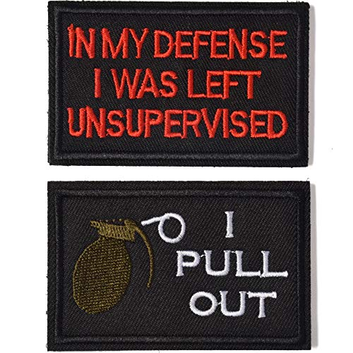 AXEN I Pull Out & in My Defense I was Left Unsupervised Tactical Military Morale Patch for Tactical Gear Hat Backpack Jackets