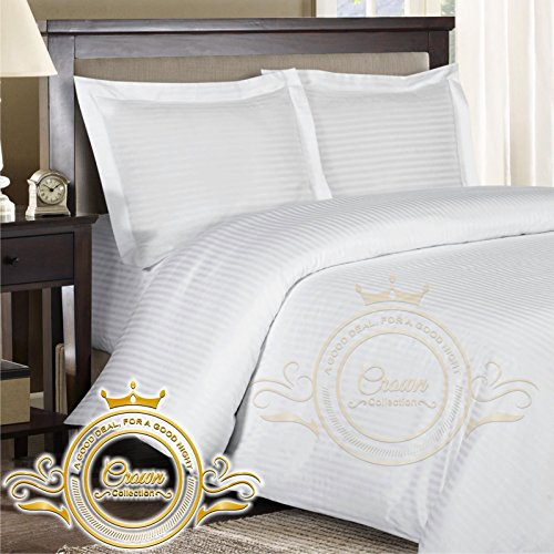 Crown Royal Hotel Collection Export Quality 650 Thread Count Egyptian Cotton King Size 4 Piece Sheet Set 12'' Inch Deep Pocket Fitted Sheet White Striped