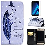 For Samsung Galaxy A5 2017 A520 Case with Card Slot,OYIME [Bird Feather and Saying] 3D Glitter Pattern Design Bookstyle Leather Wallet Holster Kickstand Function Full Body Protective Bumper Magnetic Closure Flip Cover with Wrist Lanyard and Screen Protector