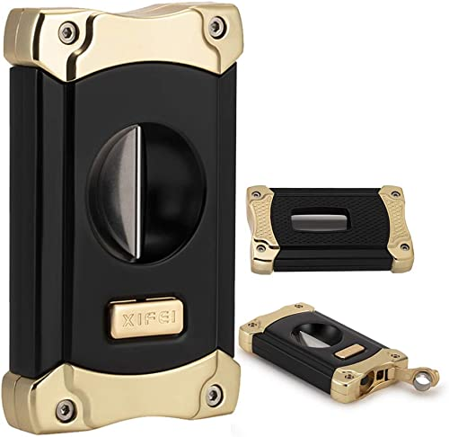 XIFEI Cigar Cutter, Stainless Steel V-Cut Cigar Cutter Built-in Cigar Puncher (Black Gold-1)