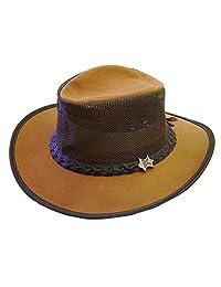 Modestone Unisex Crushable BC Hat Australian Leather/Mesh Drover Cowboy Hat