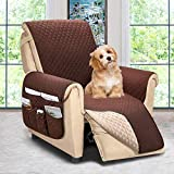 Reversible Recliner Chair Cover, Sofa Covers for Dogs,Sofa Slipcover,Couch Covers for 3 Cushion Couch,Couch Protector(Recliner Oversize:Chocolate/Beige)