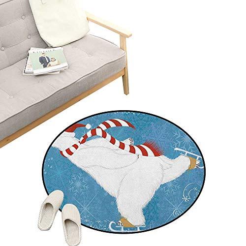 Bear Baby Room Decor Round Carpets ,Polar Bear with Christmas Hat and Scarf Ice Skating Ornamental Snowflakes and Swirls, Print Custom Floor mats 23