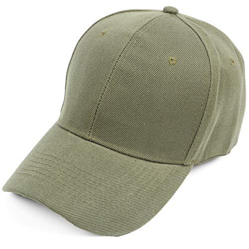 Baseball Cap Men Women Classic Plain Hat Twill Low Profile Unisex Hat Adjustable Size (03.Olive)