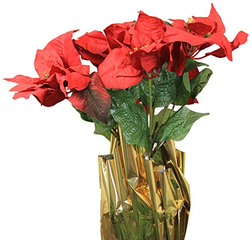 LB International Red Artificial Poinsettia Potted Christmas Plant with Gold Foil Covering, 24""