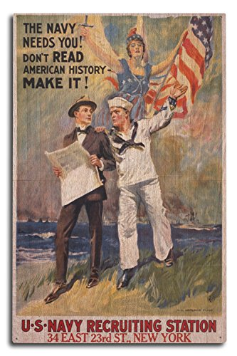 US Navy - The Navy Needs You - Vintage Advertisement (10x15 Wood Wall Sign, Wall Decor Ready to Hang)