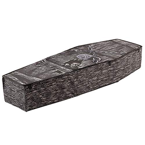 Halloween Haunters 5 Foot Instant Pop-Up Black Coffin Prop Decoration - Creepy Collapsible Fabric and Wire Casket - Gothic Graveyard Haunted House Party -