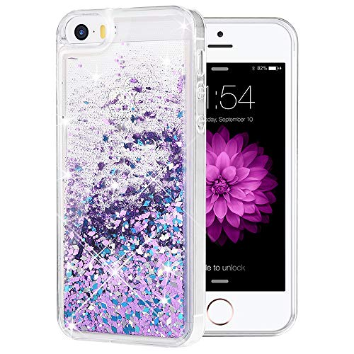 Caka iPhone 5/5S/SE Case, iPhone 5S Glitter Case Luxury Fashion Bling Flowing Liquid Floating Sparkle Glitter Soft TPU Case for iPhone 5/5S/SE - (BluePurple)