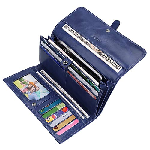 Wallet Womens Blue (S-ZONE Women's RFID Blocking Real Leather Long Organizer Wallet Card Holder Ladies Clutch(Blue))