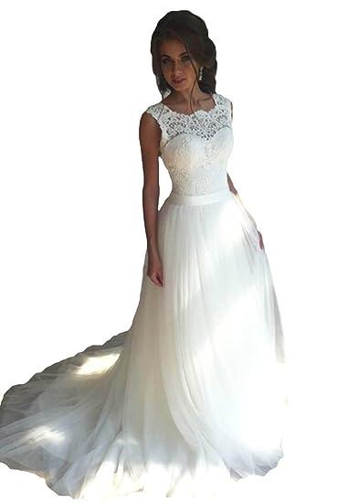 f8afd254fdd1f TBGirl Sleeveless Jewel White Wedding Dresses Appliques Lace Bridal Dress  at Amazon Women s Clothing store