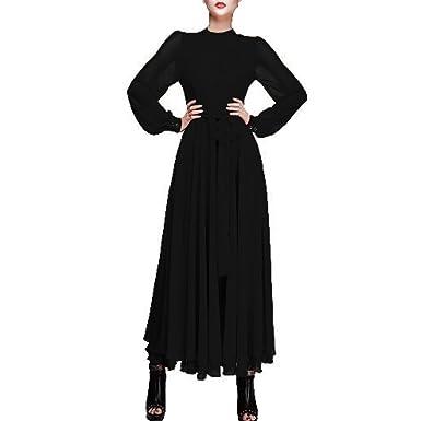Hee Grand Damen Maedchen Vintage Kleid Chiffon Kleid Chiffon Kleid Lange  Kleid Langarm Kleid Schwarz Chinesisch d2eb68761d