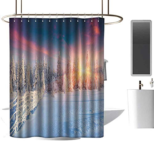 Woodland Bleach Panorama Wood - Tim1Beve Winter Long Shower Curtain Colorful Winter Panorama Photograph of Carpathian Mountains Ukraine Europe Print Non Toxic Shower Curtain W108 x L72
