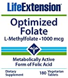 Life Extension Optimized Folate, 180 Vegetarian Tablets, L-Methylfolate 1000mcg