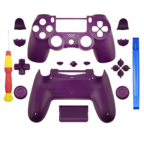 YICHUMY Replacement Parts Matte Purple Full Controller Shell +Screwdriver For PS4 Pro PS4 slim Controller Housing Shell Full Buttons Kit for PlayStation 4 slim DUALSHOCK 4 Pro Controller JDM-040