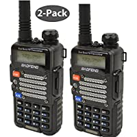 Baofeng 2-Pack UV-5R V2+ *UV-5R V2+ Plus* Dual-Band 136-174/400-480 MHz FM Ham Two-way Radio, Improved Stronger Case, Enhanced Features - Black 2 pack