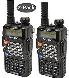Baofeng 2-pack Uv-5r V2+ *Uv-5r V2+ Plus* Dual-band 136-174400-480 Mhz Fm Ham Two-way Radio, Improved Stronger Case, Enhanced Features - Black 2 Pack