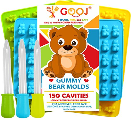 Gooj-Gummy Bear Molds- (Recipe included on the box) 3 Silicone Molds 150 gummy bears total +3 Droppers- BPA Free (3 Pack; Green, blue, and Yellow)