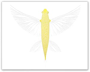 Ousita Abstract Marine life flying fish Gold Foil Print, - Upcycled Vintage Home or Office Decor for Bathroom, Bath, Beach or Ocean House - Unique Gift for Nautical, Ocean, Sea Lover Letterpress Unframed Prin(8 X 10 inch, UNframed)
