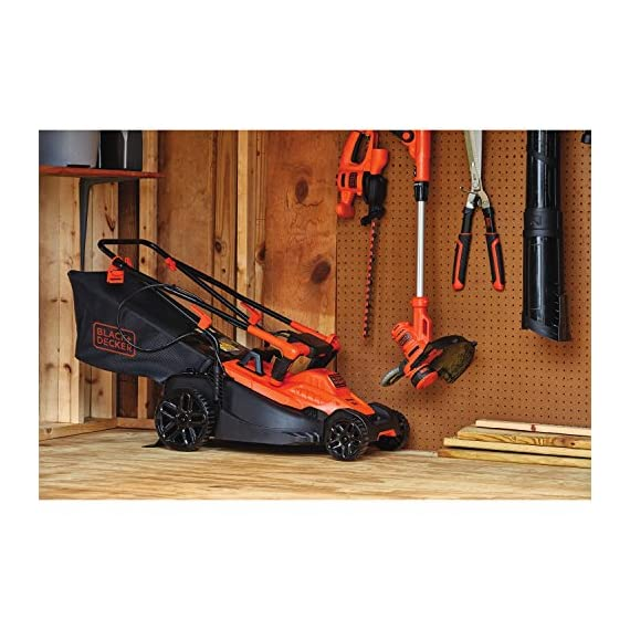 BLACK+DECKER Electric Lawn Mower, 10 -Amp, 15-Inch (BEMW472BH) 12 IMPROVED ERGONOMICS: Comfort grip handle makes the lawn mower easy to maneuver BETTER CLIPPING COLLECTION: Our winged blade achieves 30% better clipping collection NO MORE PULL CORDS: Push-button start makes starting the lawn mower a breeze